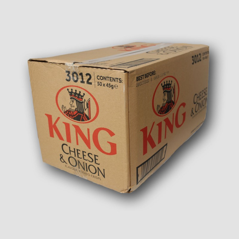 box of king cheese and onion crisps