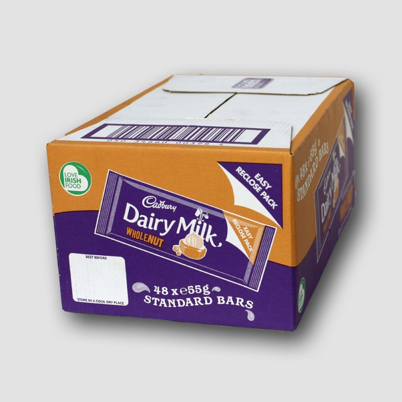 box of cadbury dairy milk wholenut choclate bar