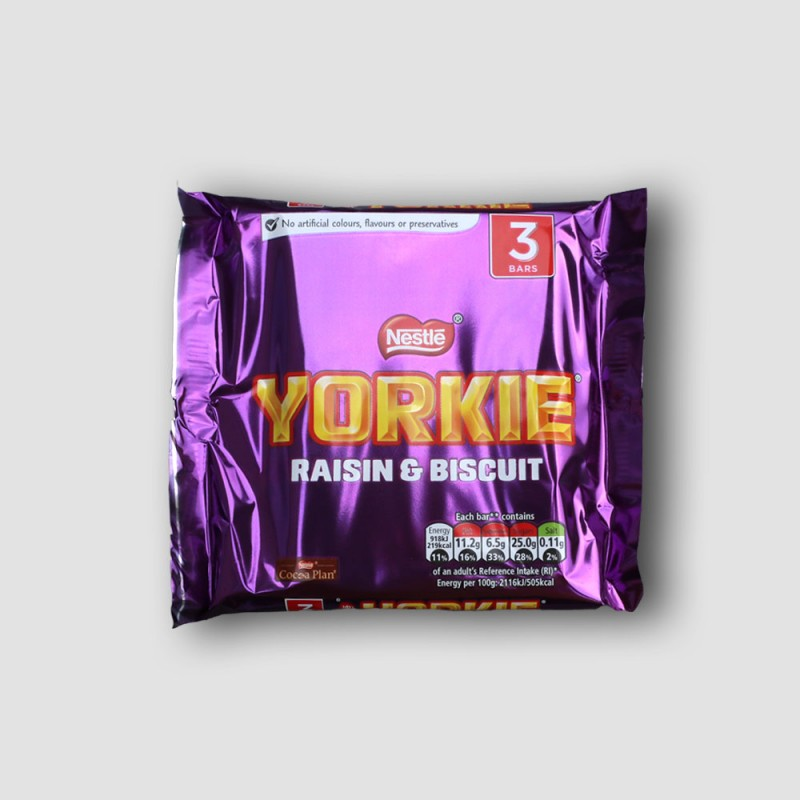 3 bars of Yorkie raisin and biscuit