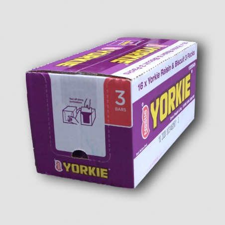 Box of 3 pack's of Yorkie raisin and biscuit