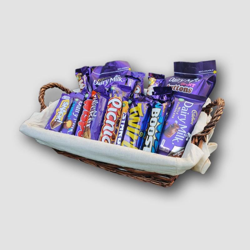 Cadbury bars in basket