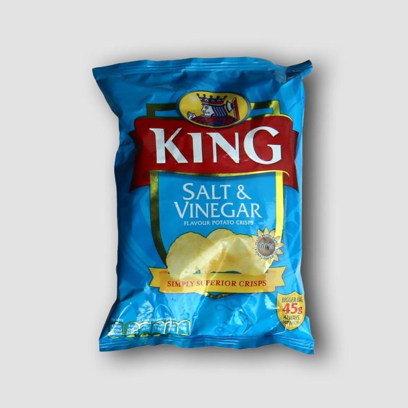 King Crisps salt and vinegar box 50 pack