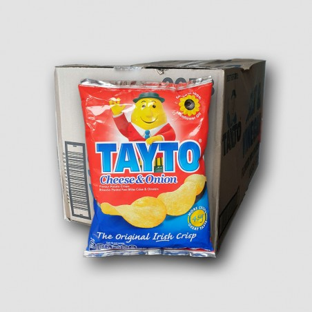 Box of tayto cheese and onion crisps.